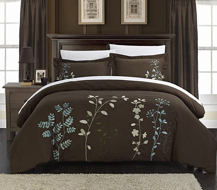 Chic Home Kaylee Floral Embroidered Duvet Set, Queen, Brown