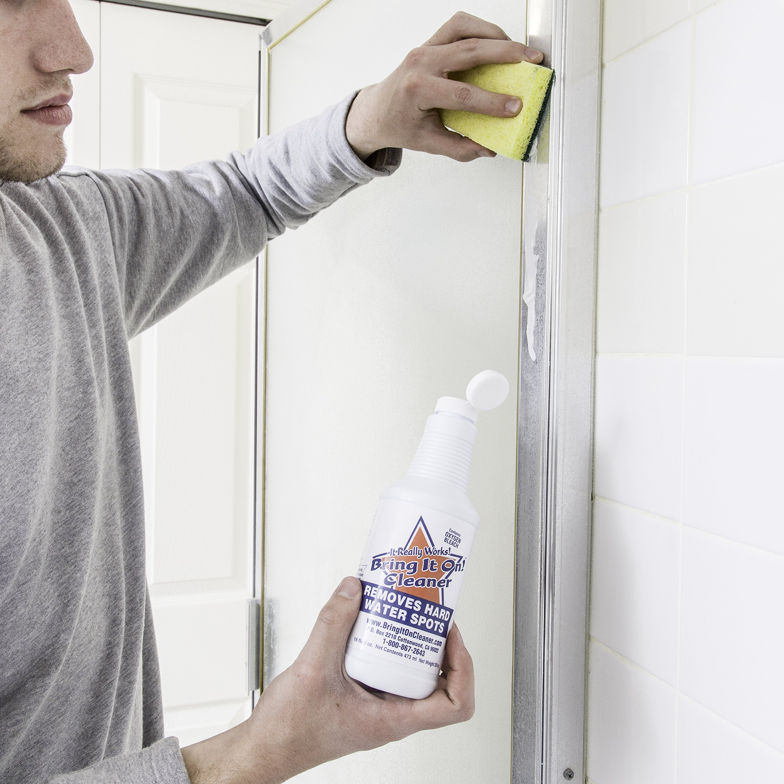 Bring It On Cleaner Shower Door Hard Water Spot Stain Remover With