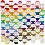 Mira Handcrafts 60 Yarn Bonbons - Total of 1312 Yard Acrylic Yarn for Knitting and Crochet - Yarn Bag for Storage and Accessories Included with Each Pack (Tamaño: 60)