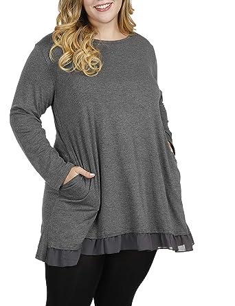 Shiaili Women Plus Size Tunic Shirt Graceful Lace Top For Legging