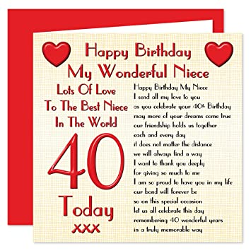 Niece 40th Happy Birthday Card