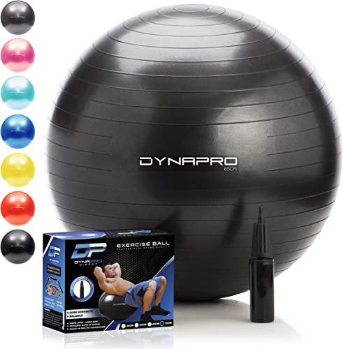 DYNAPRO Exercise Ball Extra Thick Eco-Friendly Anti-Burst Material Supports Over 2200lbs Stability Ball