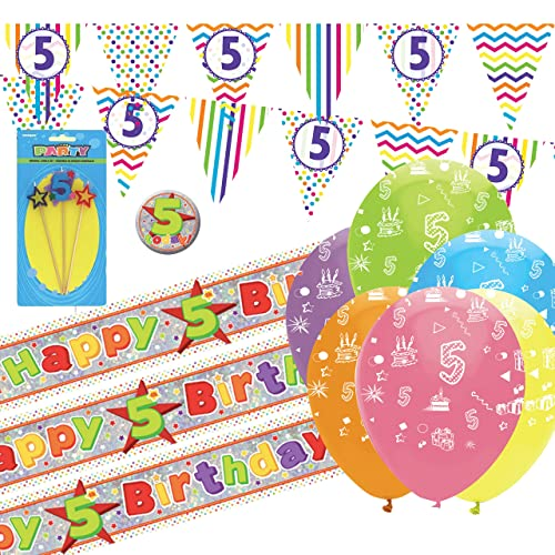 CheerstoYears 5th Birthday Decorations Party Pack Bunting Banners Balloons Candle