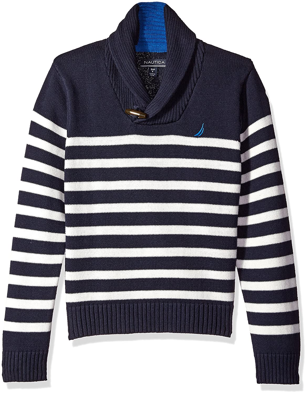 Nautica Boys' Shawl Collar 'Rockport' Striped Sweater with Neck Toggle Closure N211171Q