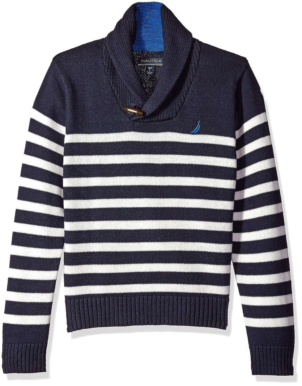 Nautica Boys' Shawl Collar 'Rockport' Striped Sweater with Neck Toggle Closure N211171Q