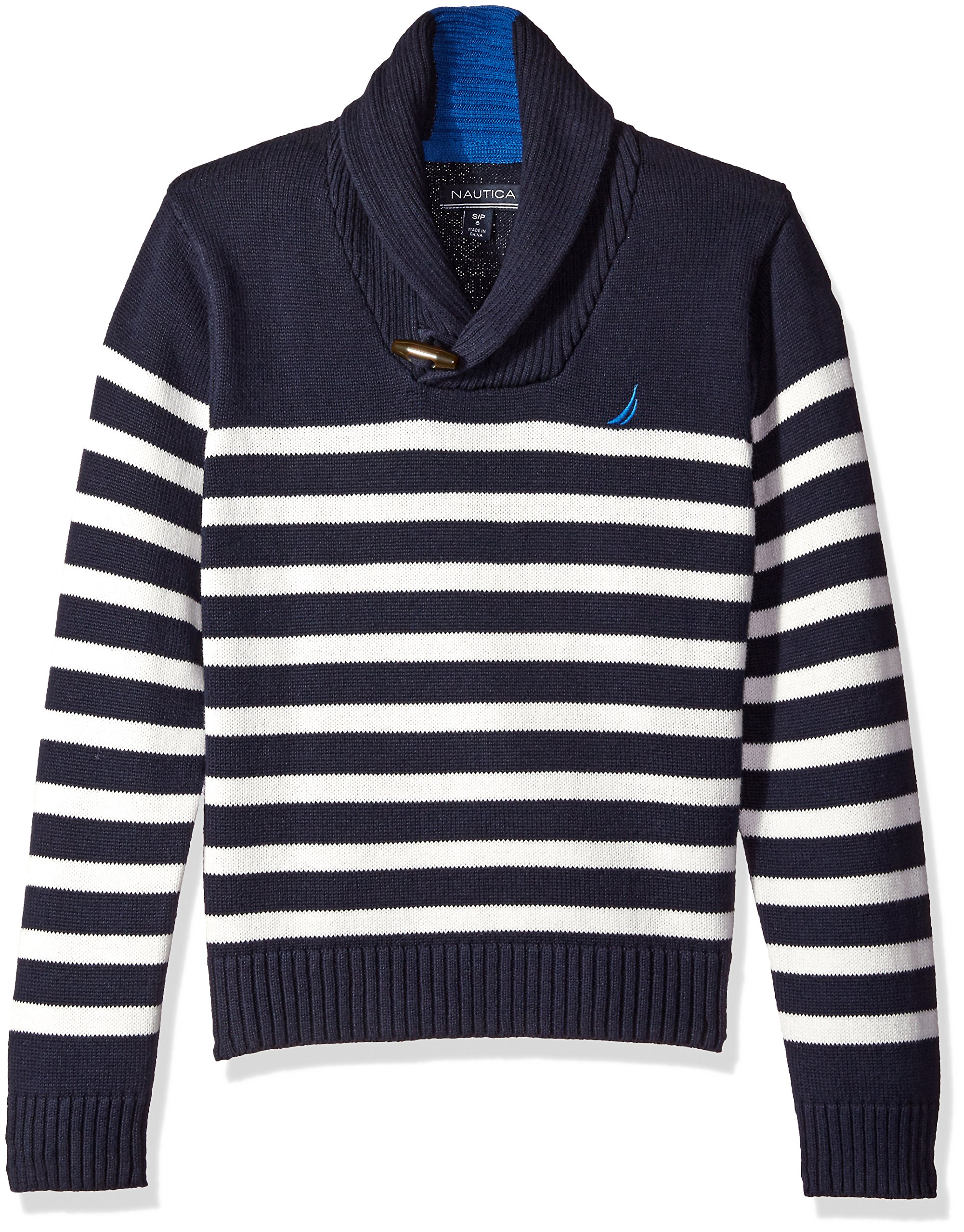Nautica Big Boys Shawl Collar 'Rockport' Striped Sweater With Neck Toggle Closure, Sport Navy, Medium
