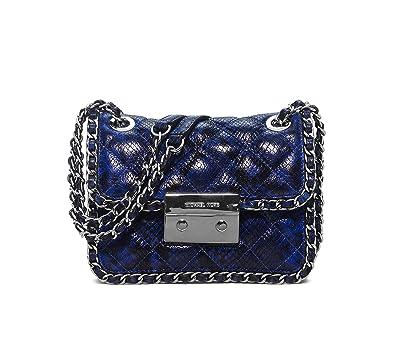 776f353a2654 Amazon.com: Michael Kors Women's Carine Shoulder Bag, Electric Blue  Embossed Leather, Medium: Michael Kors: Shoes