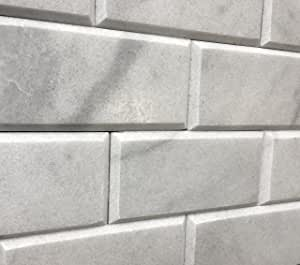 3x6 Beveled Honed Gray White Carrara Subway Marble Tiles