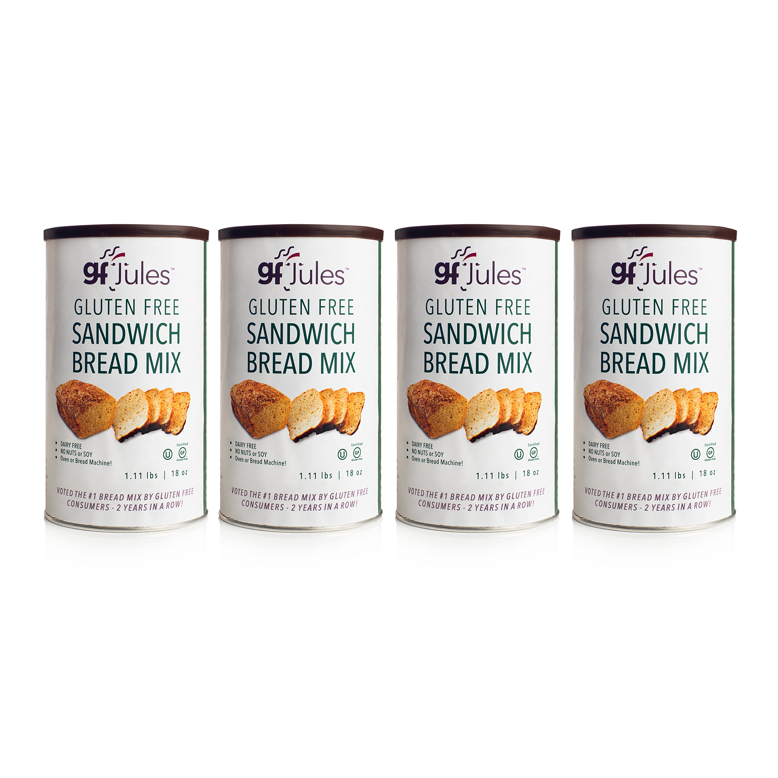gfJules Gluten Free Sandwich Bread Mix - Voted #1 by GF Consumers 1.11 lbs, Pack of 4 by gfJules