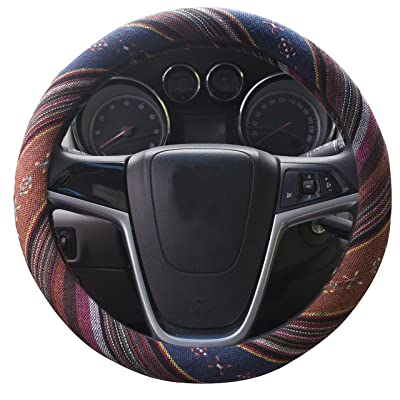 Istn Small Ethnic Style Coarse Flax Cloth Automotive Steering Wheel Cover Anti Slip and Sweat Absorption Auto Car Wrap Cover (14''-14.25, F): Automotive