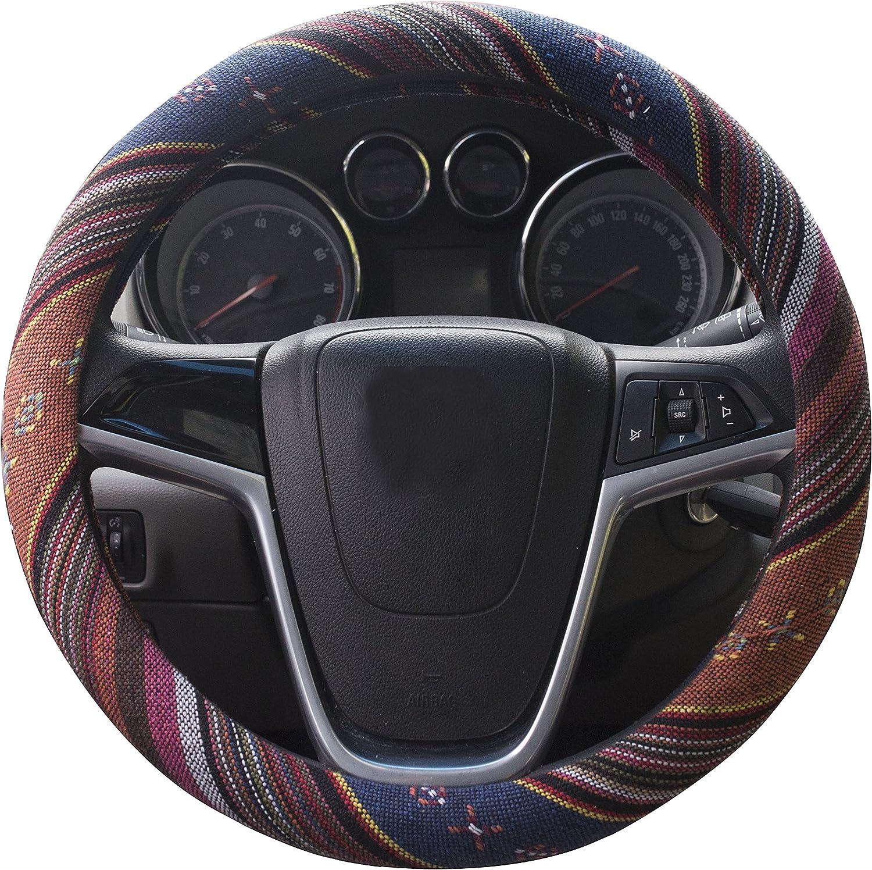 Auto Interior Accessories Automotive Boho Ethnic Flax Sofy Ethnic Style Flax Cloth Wrap Slip Sweat Absorption 15,E Universal Car Steering Wheel Cover