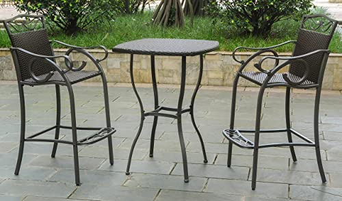 International Caravan 3-Pc Patio Bistro Set in Chocolate Finish