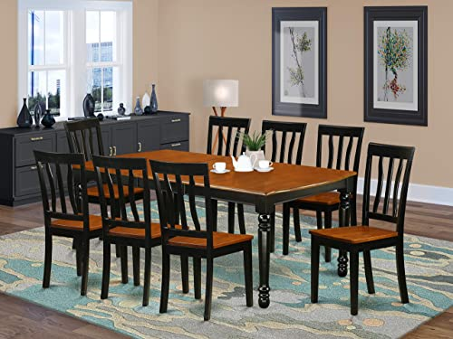 DOAN9-BCH-W 9 PC kitchen tables and chair set with one Dover dining table and 8 kitchen chairs in a Black and Cherry Finish