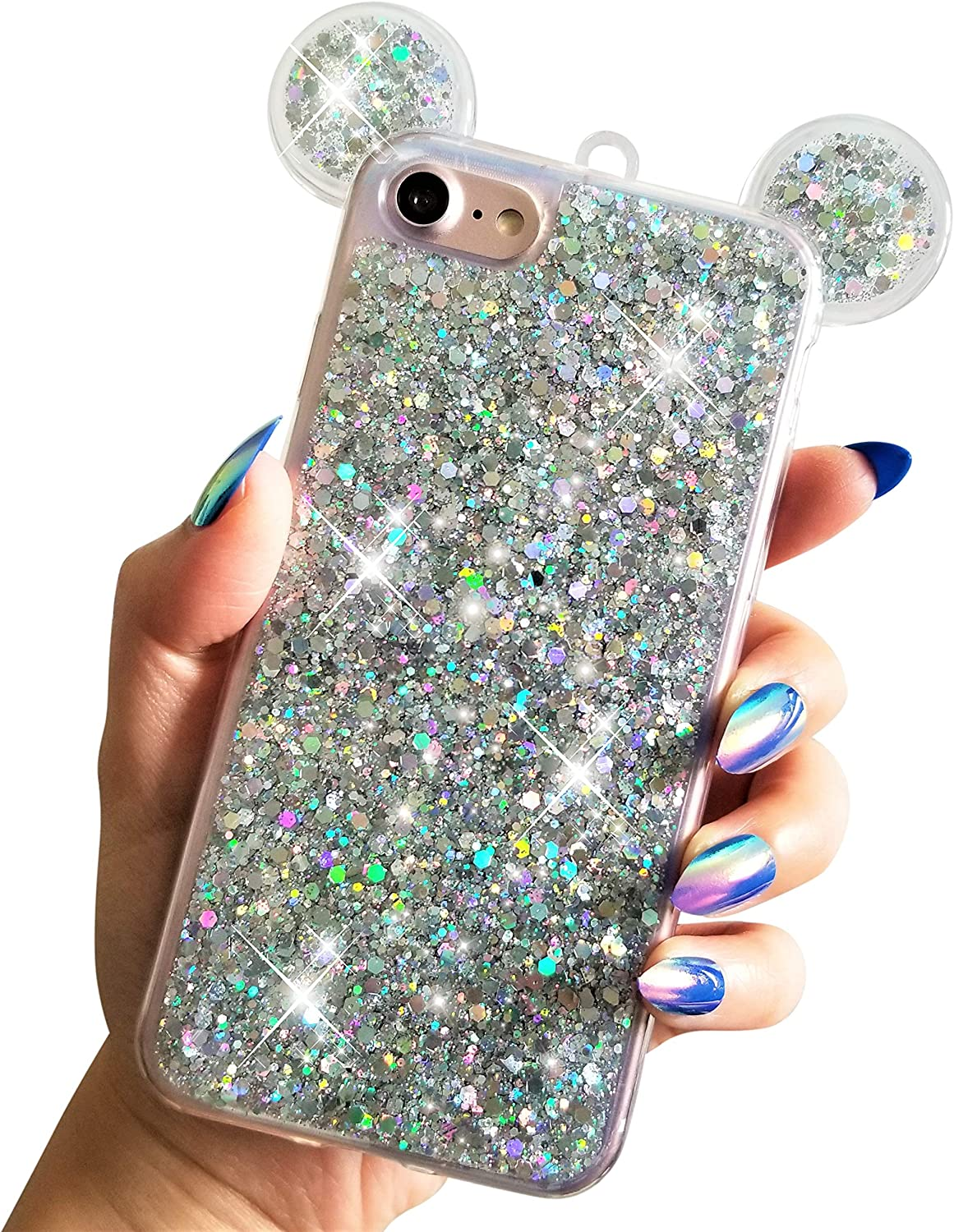 """For iPhone 7 4.7"""" For iPhone 8 4.7"""" Soft TPU Holographic Dots Minnie Mickey Ears Shiny Glitter Disney Back Cover Case"""