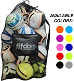 Extra Large Heavy Duty Soccer Ball Mesh Bag for Sports, Beach and Swimming Gears. Adjustable Shoulder Strap Made to Fit Adults and Kids. Secure Side Zipper Pocket for your Personal Item