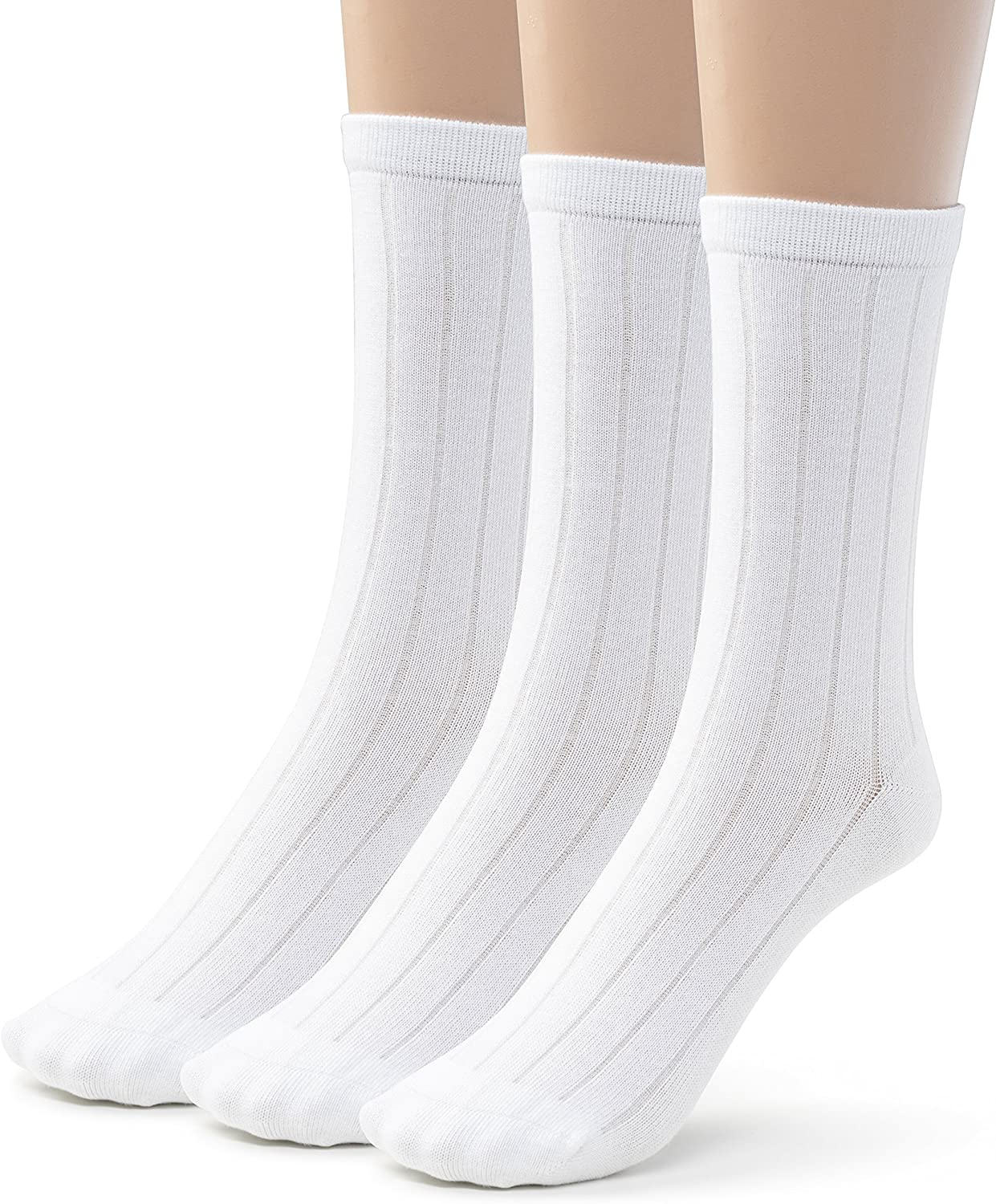 Silky Toes 3 or 6 Pairs Mens Bamboo Ribbed Dress Socks Casual Basic Socks