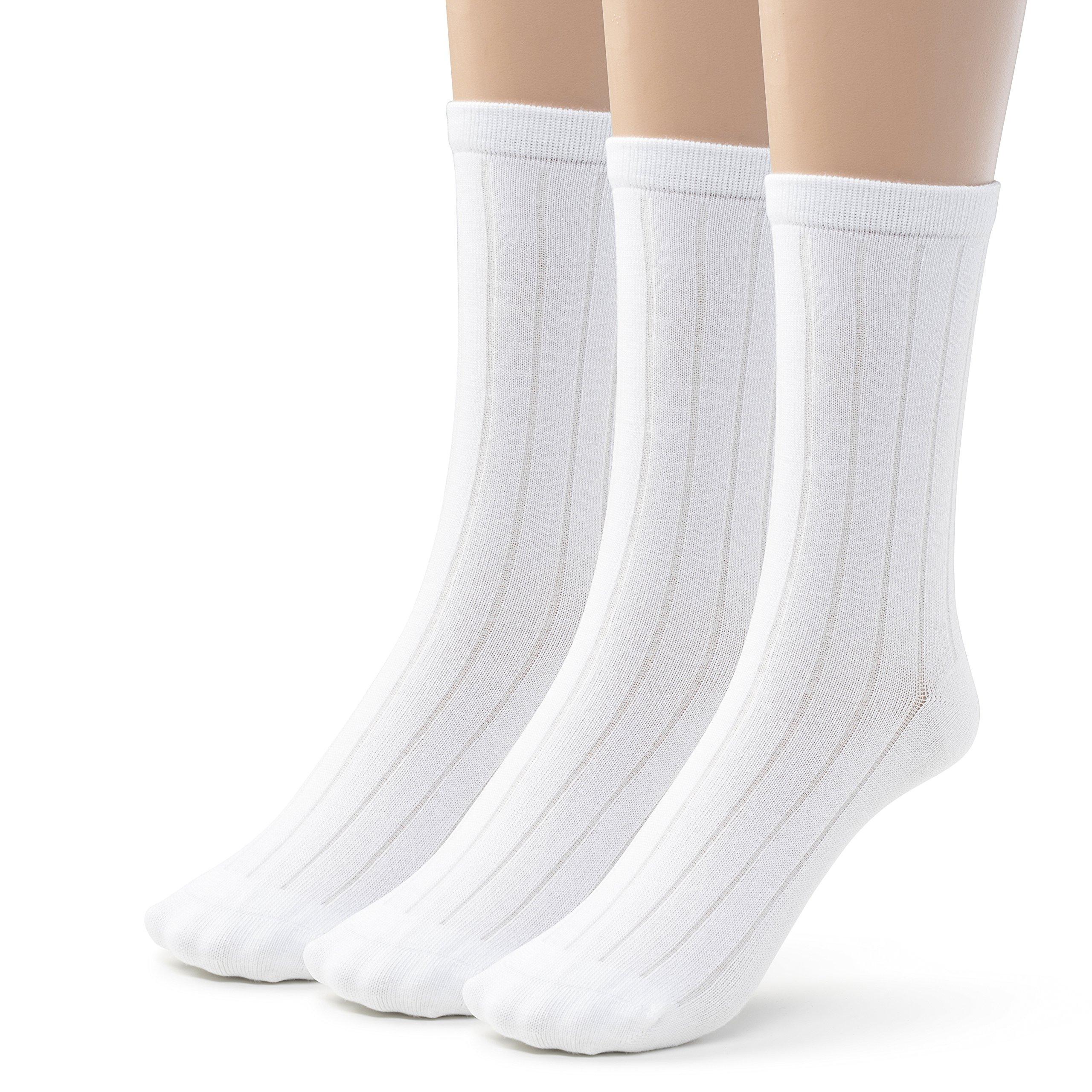Silky Toes Bamboo Cotton Ribbed Crew Boys School Uniform Socks (Small (7-8), White)