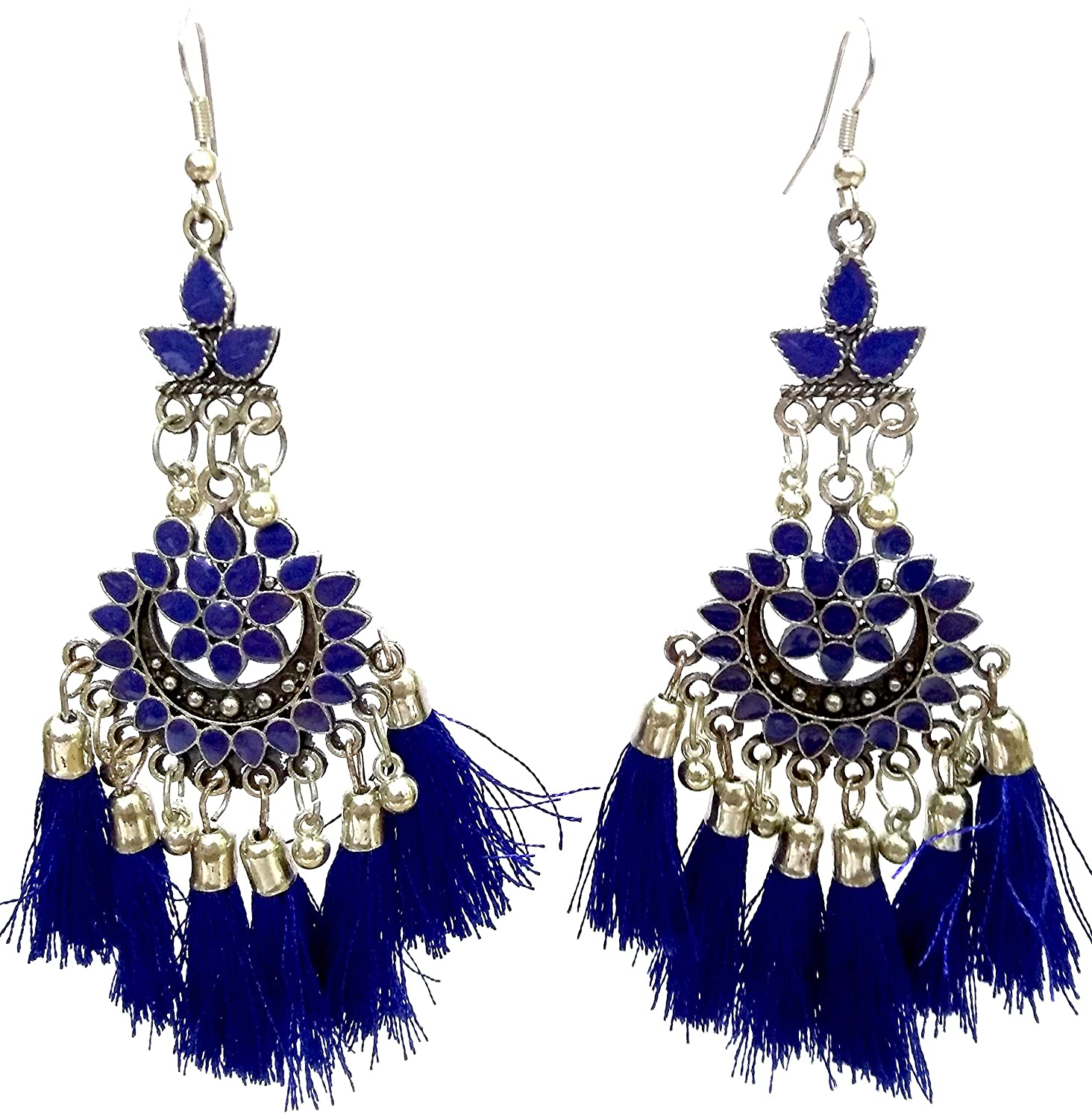 DESI HAWKER Silver Oxidized Earring Bali Jhumki Jhumka Jewelry Bollywood Drop Dangle Afghani Tassels NI-144