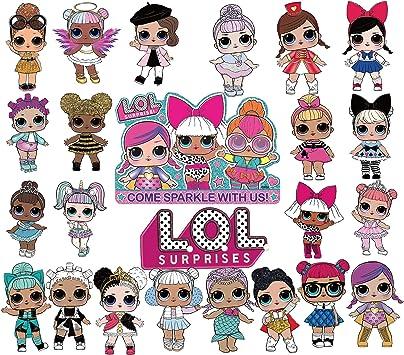 Amazon Com 24 Pcs Lol Dolls Cake Topper Cupcake Toppers Set Pink