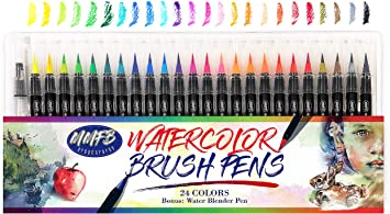 Free Blending Brush 24 Pack Flexible Brush Tips for Watercolor Effects Coloring and Calligraphy Pad! Premium Watercolor Real Brush Pens by Sophies Art Supplies Vibrant Water Soluble Ink