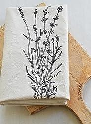 Lavender Tea Towel, Organic Cotton, Handmade in Maine, Black Print