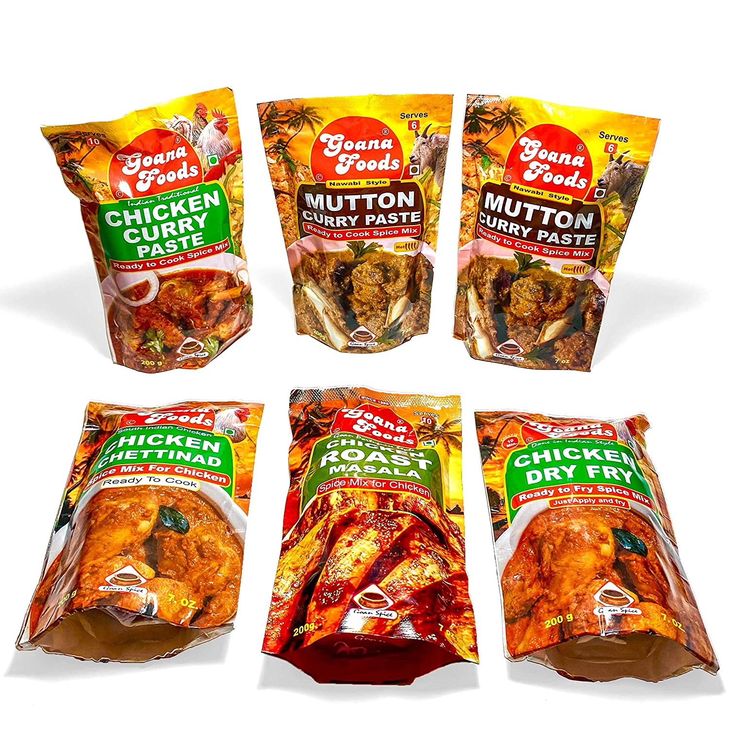 Ron Foods Indian Masala Combo of 6   Chicken Curry Paste (7 oz),(2) Mutton Curry Paste(7 oz), Chicken Chettinad (7 oz), Chicken Roast Masala (7 oz), Chicken Dry Fry Masala (7 oz)