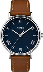 Timex Men's TW2R63900 Southview 41mm Tan/Silver-Tone/Blue Leather Strap Watch