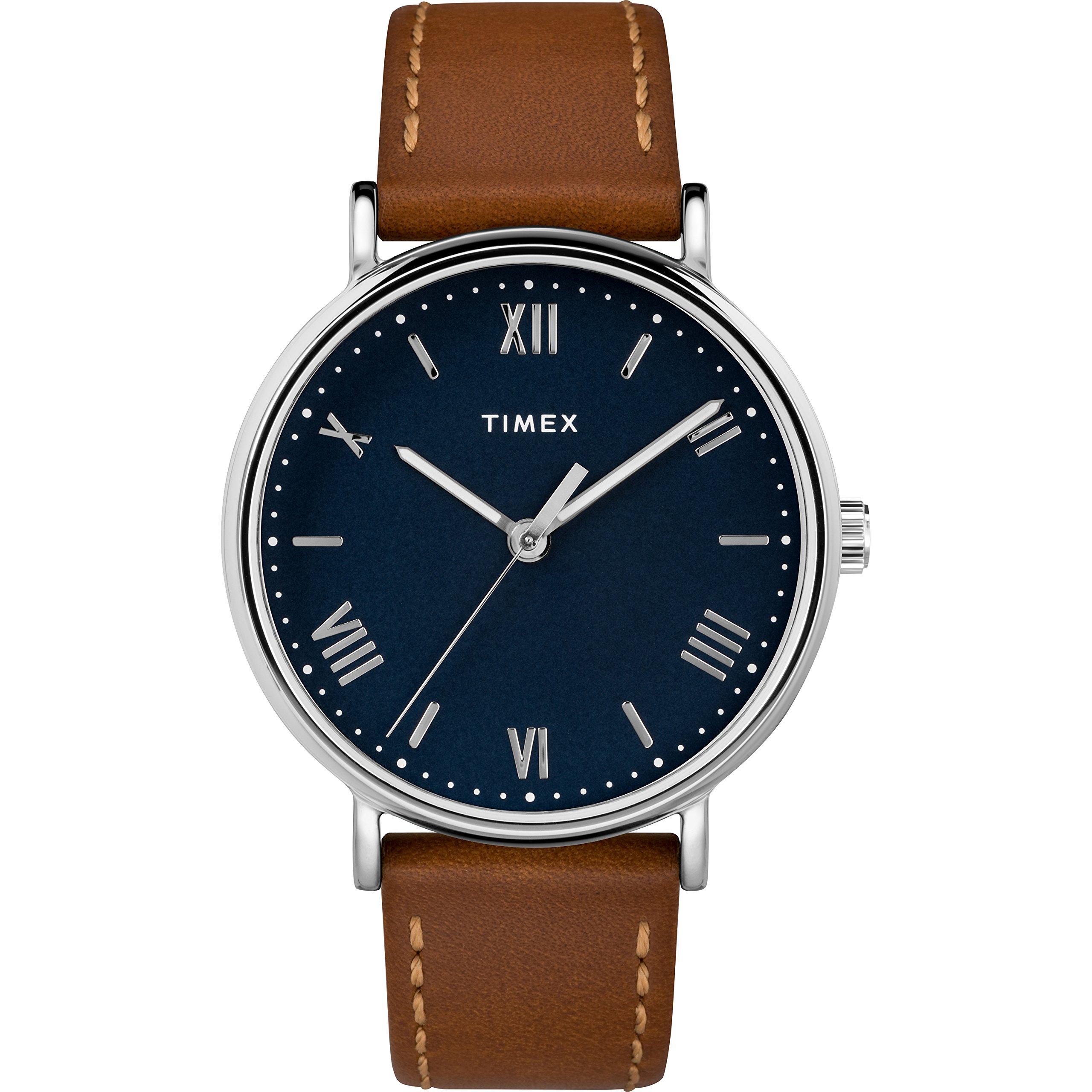 Timex Men's TW2R63900 Southview 41 Tan/Silver Tone/Blue Leather Strap Watch by Timex