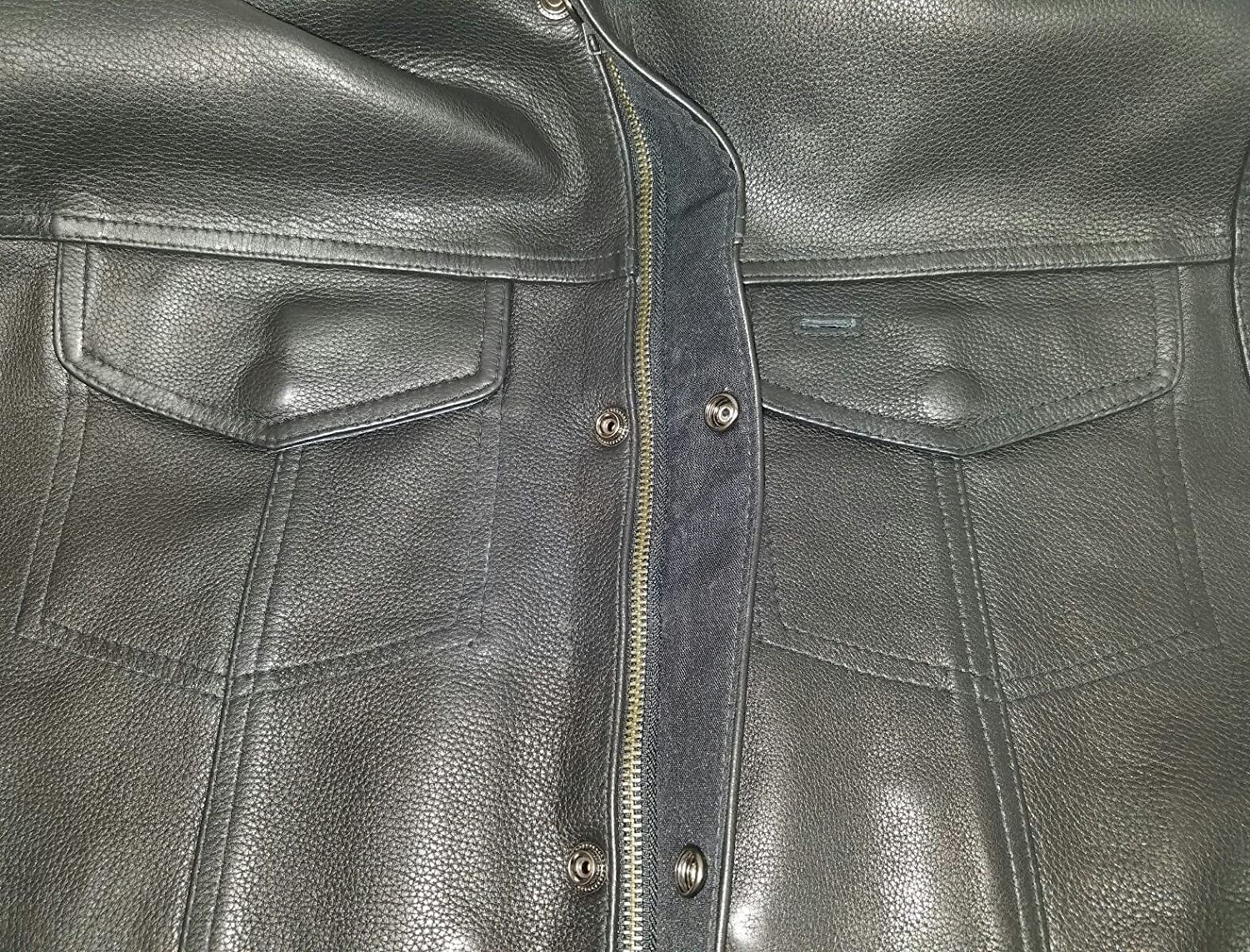 Milwaukee MENS MOTORCYCLE SON OF ANARCHY STYLE BUTTER SOFT LEATHER VEST W//O COLLAR NEW 3XL Regular