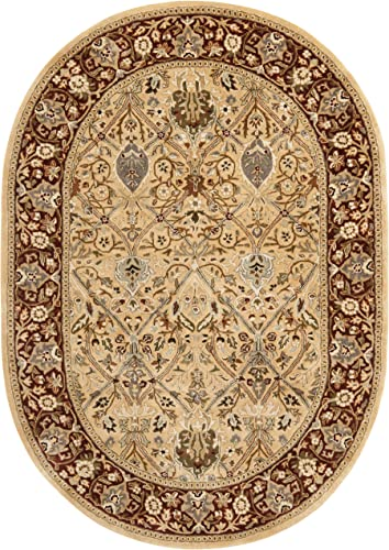 Safavieh Persian Legend Collection PL519D Handmade Traditional Ivory and Rust Wool Area Rug 7'6″ x 9'6″ Oval