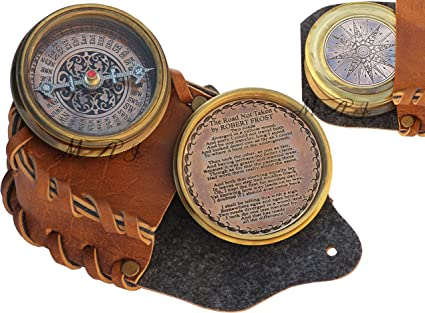 Robert Frost Poem Compass With Leather Case