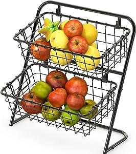 SimpleHouseware 2-Tier Rigid Wire Market Basket Stand, Black