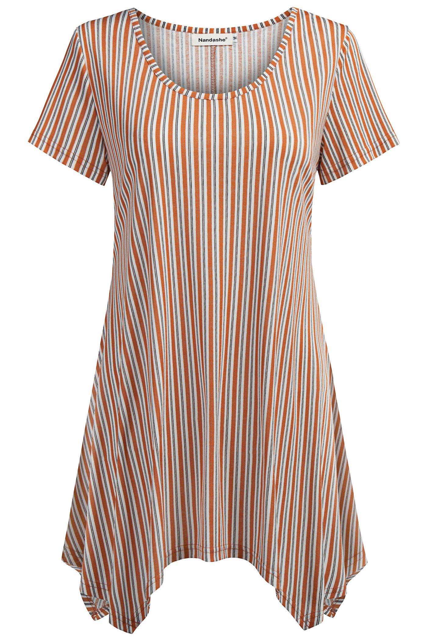 Nandashe Bohemian Shirts Women, Peplums Beautiful Striped Elastic Fabric Oversized National Rayon Slim Loose Long Tunic Blouses Summer Sweaters Orange 2XL
