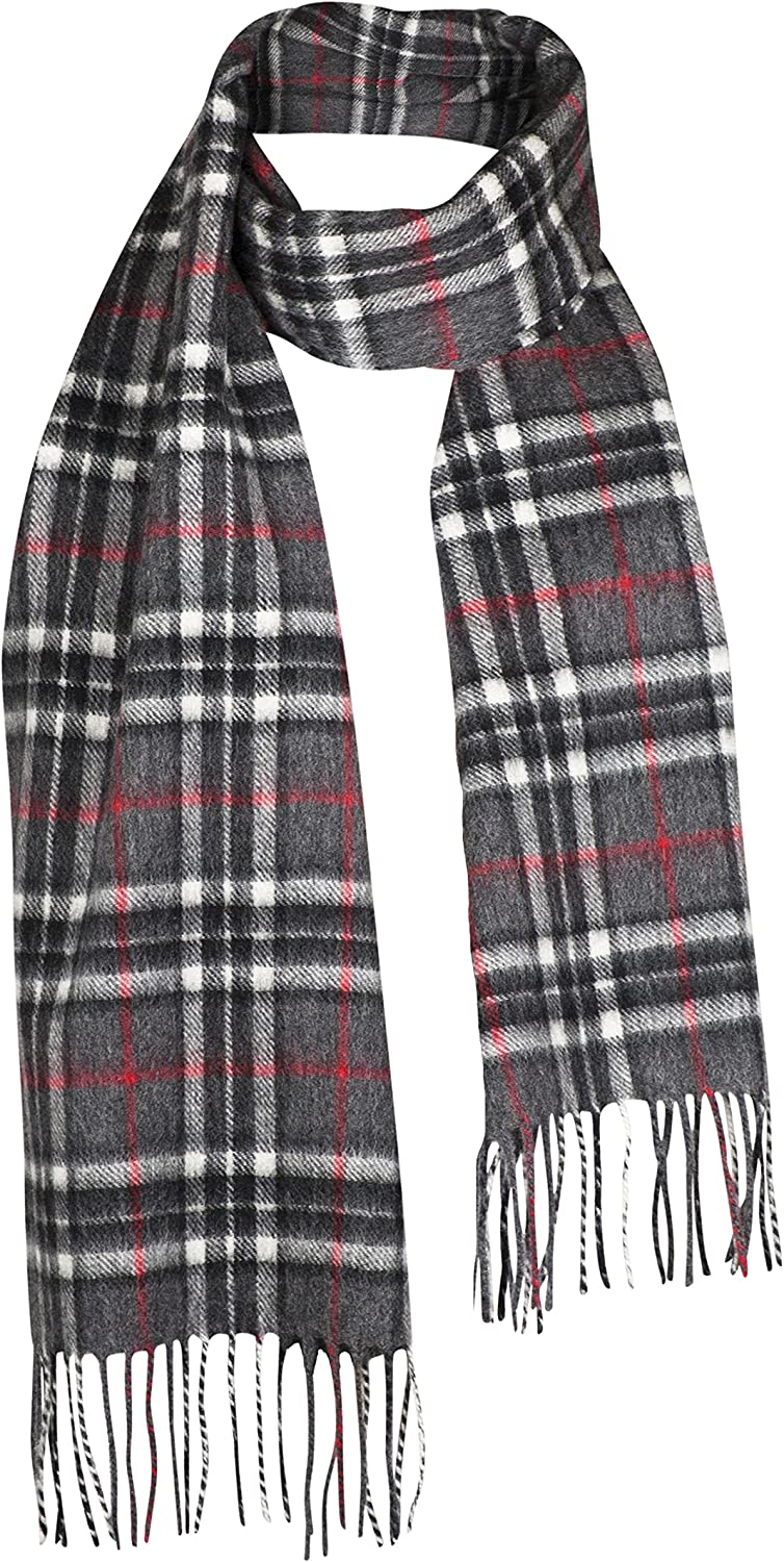 Lona Scott Pure Cashmere & Wool Scarves Grey Black check