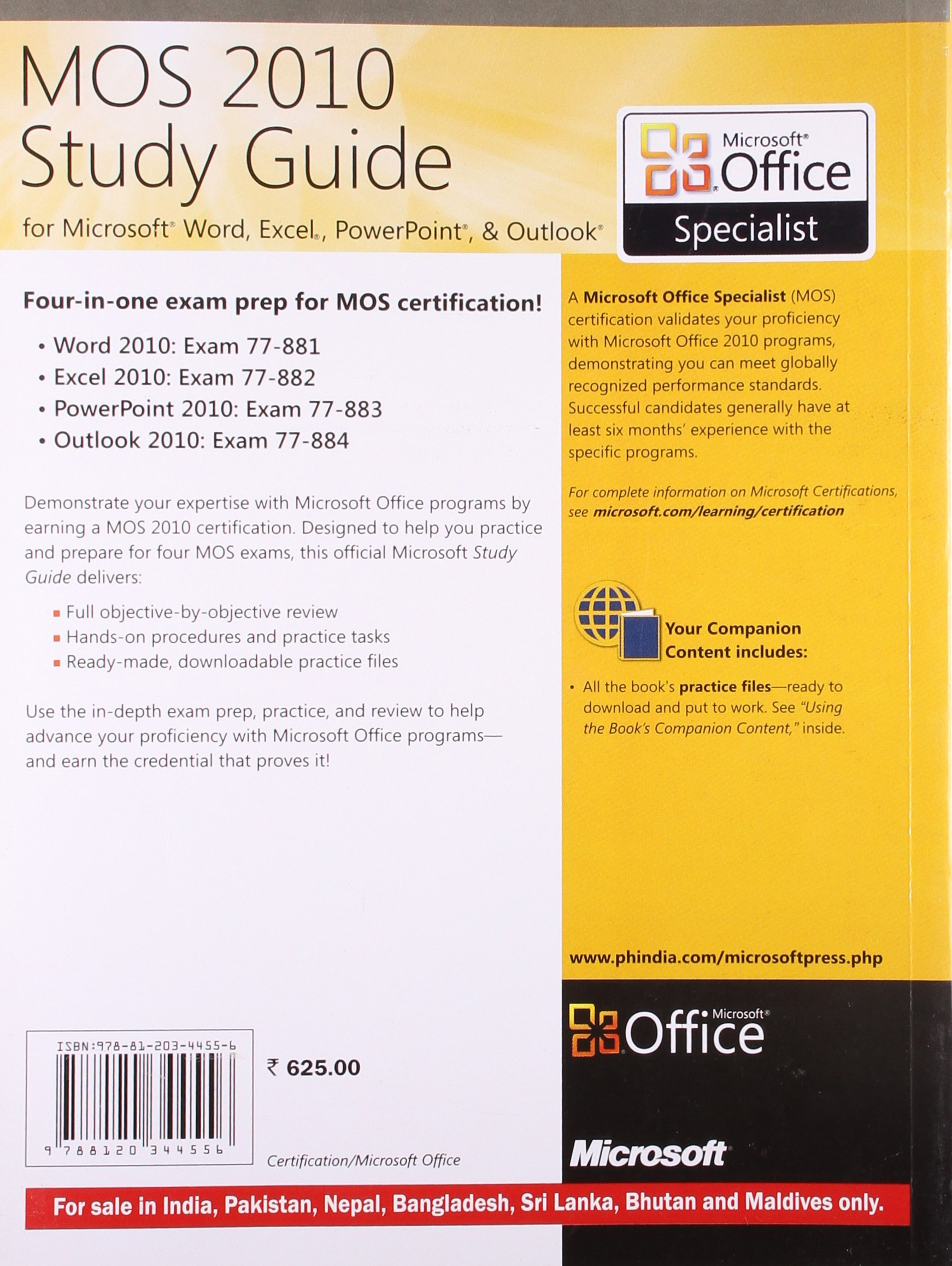 Buy Mos 2010 Study Guide For Microsoft Word Excel Powerpoint And