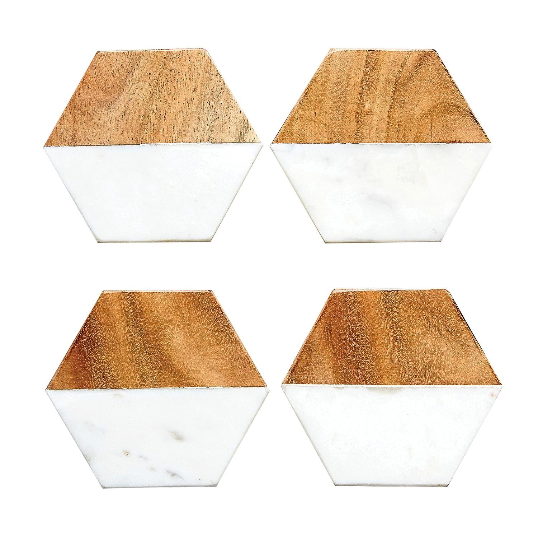 Creative Co-Op DA6336 Set of 4 Marble & Mango Wood Hexagon Coasters