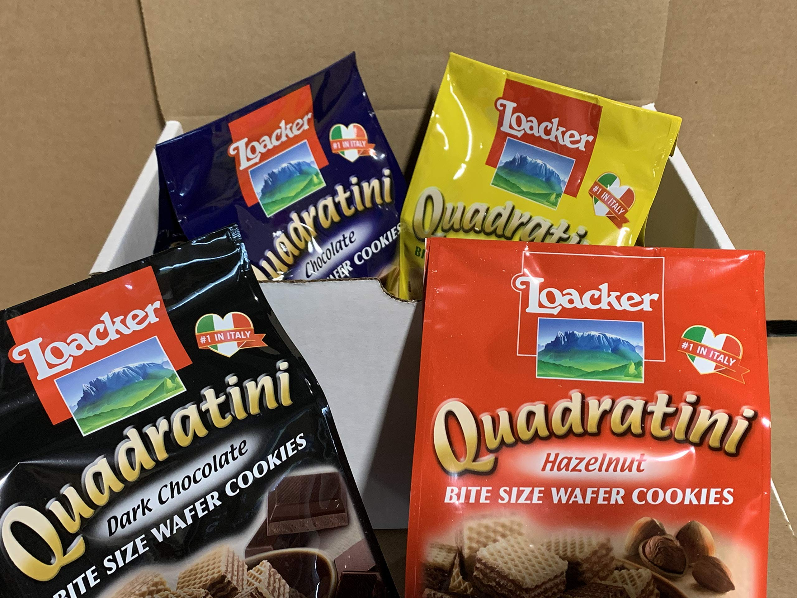Loacker Quadratini Wafer Cookies Variety Pack ( Pack of 4 ) By KC Commerce by Loacker