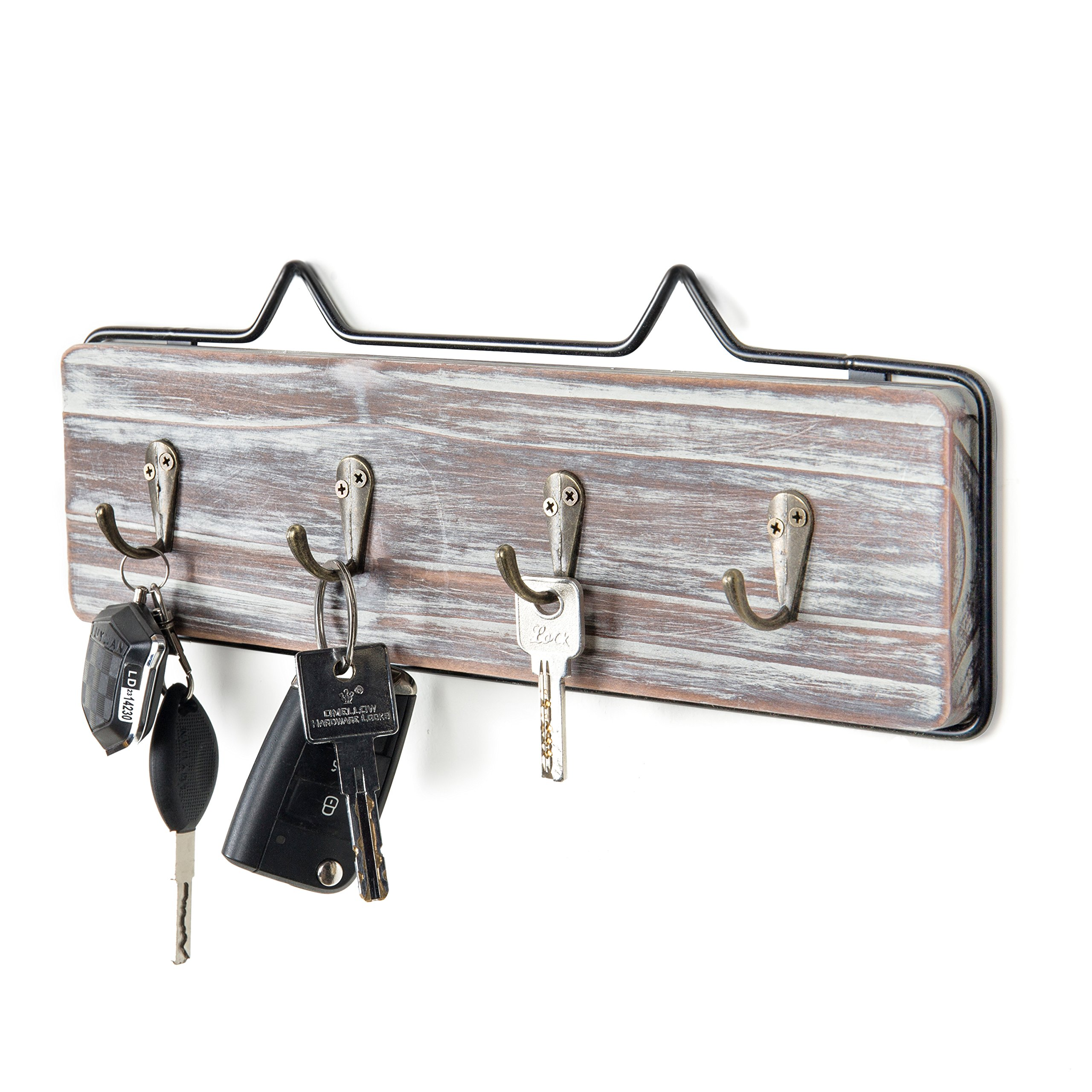 MyGift Wall-Mounted Torched Wood w/Black Metal Frame Entryway Key Hook Rack