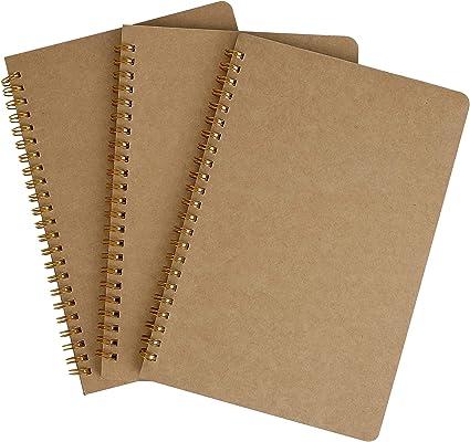 Bloc de Notas Espiral A5 Cuaderno Forrado, Pequeña Cuaderno de Notas Con Líneas, Cubierta de Kraft 100 Páginas Diario de Viaje Libreta Hojas para Viajar, Escolar Escribir (3PCS): Amazon.es: Oficina y papelería