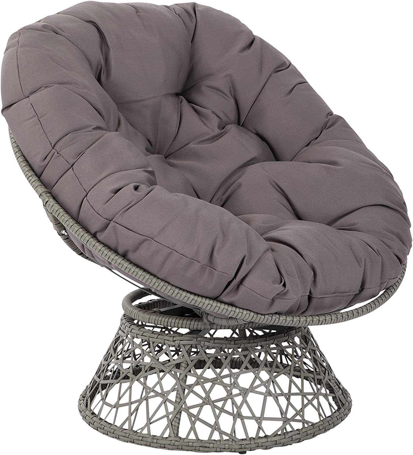 OSP Home Furnishings Papasan Chair with 360-degree Swivel, Grey Cushion Frame: Furniture & Decor