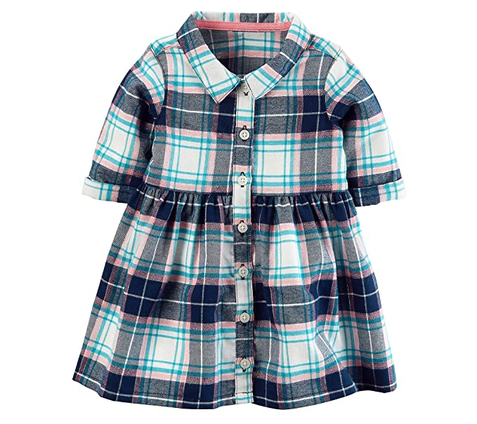 6f67198cd Amazon.com  Carter s Baby Girls  Flannel Shirt Dress  Clothing