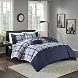 Comfort Spaces Harvey Comforter Set - 3 Piece - Blue - Multi-Color Plaid - Perfect For College Dormitory, Guest Room - Twin/Twin XL Size, includes 1 Comforter, 1 Sham, 1 Decorative Pillow