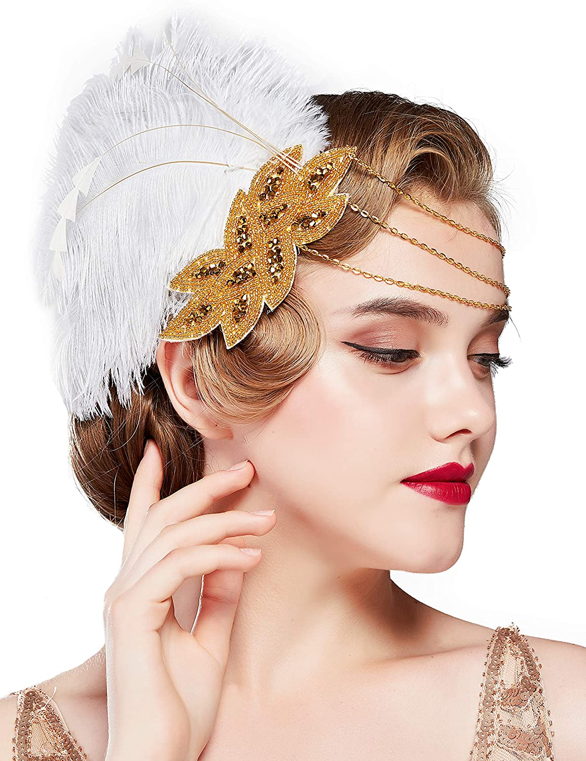 Roaring 20s Feather Headband 1920s Flapper Headpiece Perfect Costume Jewelry Black Gatsby Hair Accessories