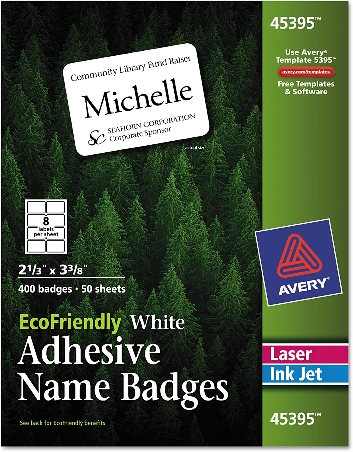 Avery White EcoFriendly Name Badges, 2.33 x 3.375 Inches, Box of 400 (45395)