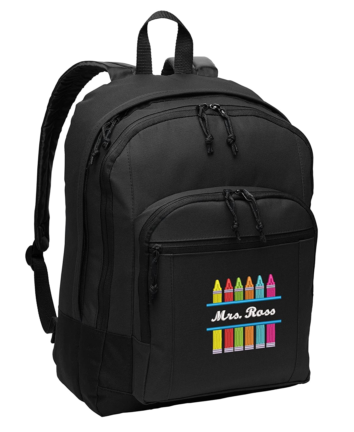 Crayons Personalized Embroidered Teacher BackPack