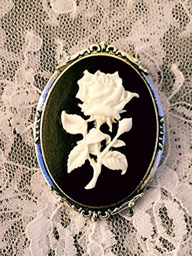 7597deae872 Image Unavailable. Image not available for. Color: Black and White Rose  Cameo Brooch Resin