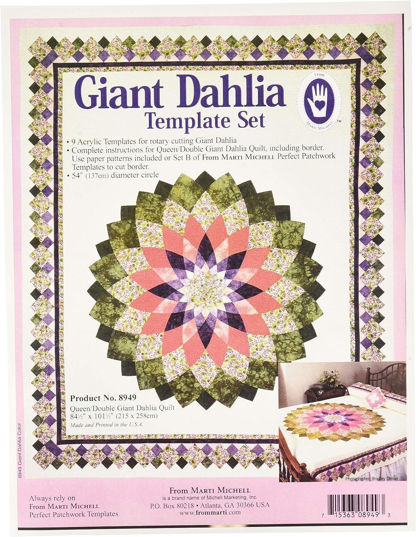 137 cm Marti Michell 8949 Giant Dahlia Schablonen-Set f/ür Doppelbett