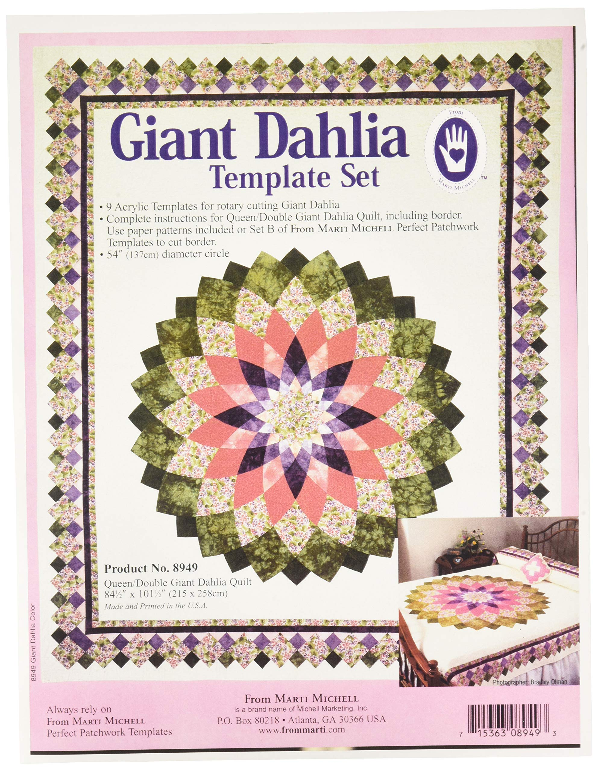 Marti Michell 8949 Giant Dahlia Template Set, 54'' Queen/Double Quilt by Marti Michell