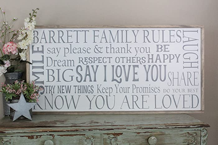 Amazon.com: Personalized Family Rules Wall Art/Hand Painted Sign ...
