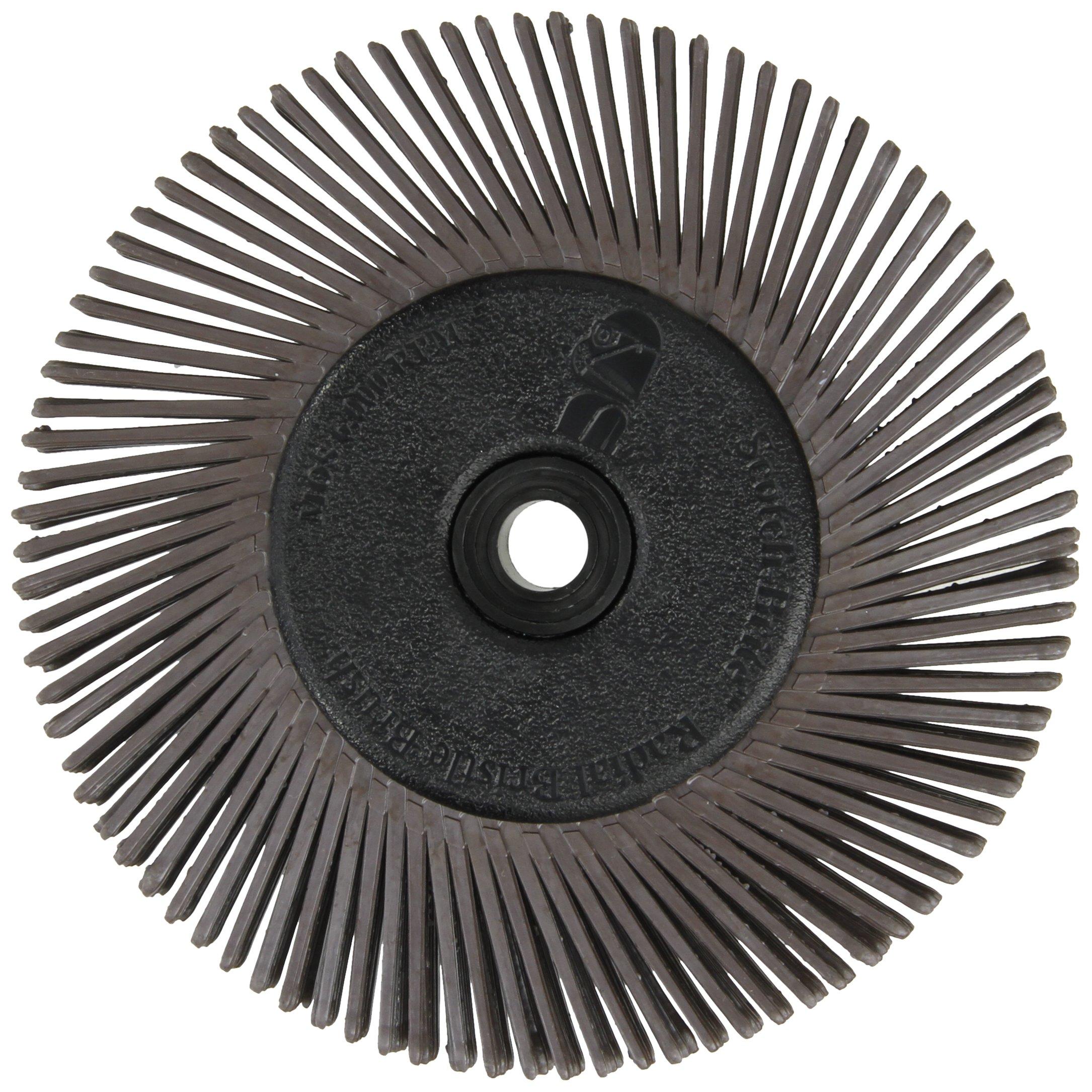 Scotch-Brite(TM) Radial Bristle Brush, Cubitron/Aluminum Oxide, 6000 rpm, 6 Diameter x 1/2 Width, 36 Grit (Pack of 1)
